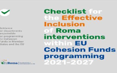 Checklist para la inclusión efectiva de la población gitana en las intervenciones y la programación de los Fondos de Cohesión de la UE 2021-2027